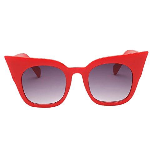 Fenteer Frauen Männer Uv400 Unisex Sonnenbrille - Roter Rahmen Gradient Grey Lens, Wie beschrieben