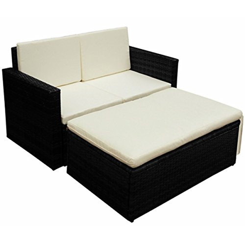 LD Poly Rattan Garden Furniture Lounge Sofa Chair Seat Group