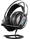 Mpow® EG4 Gaming Headset, Virtual 7.1 Surround Sound Gaming Kopfhörer für PC, PS4, Stereo Over-Ear-USB-Headset w/LED-Lichter, Noise Cancelling Mikrofon und Lautstärkeregler, Leichtes Haarband Design