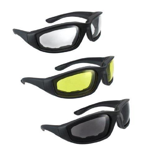 Private Label 3 Paar Motorrad-Reiten Gläser Smoke Klar Gelb 3 2 gemischt Gelb, Rauch, klar Klar, Gelb, Rauch (Eine Zoll Schaum-blöcke)