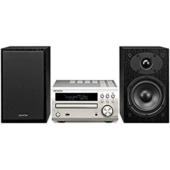 Denon DM-40DAB Micro Component CD Receiver System with Black Speakers - Premium Silver