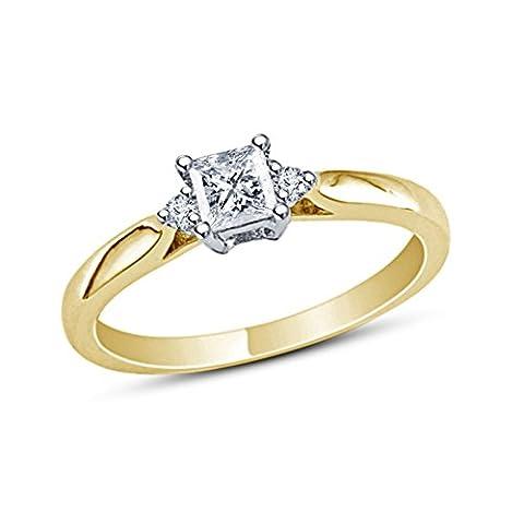 Vorra Fashion Brilliant Princess & Round White CZ 14k Gold