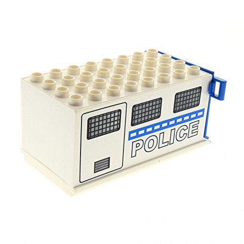 1 x Lego Duplo LKW Truck Aufsatz groß weiß 4x8x3.5 Klappe 1x4 blau Container Police Polizei Wagen Auto 87658 89195c01pb02