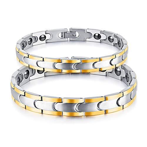 XAM Stilvolles Magnetarmband Gegen Arthritis Und Schmerzen Am Handgelenk, Magnetarmband Aus Edelstahl - 2 Stück (Männlich Und Weiblich)