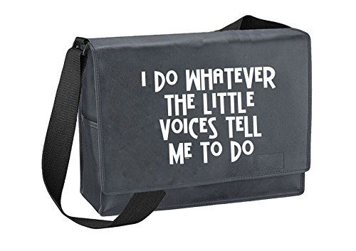 Little Voices-Unisex-lustige Sprüche Neuheit Bagbase Budget Aktentasche- Grau