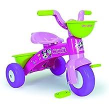 Triciclo, triciclo Bimba, triciclo para niños, modelo Minnie Mouse, triciclo infantil con cómodo doble porta objetos. Triciclo de plástico, ideal para la primera infancia.