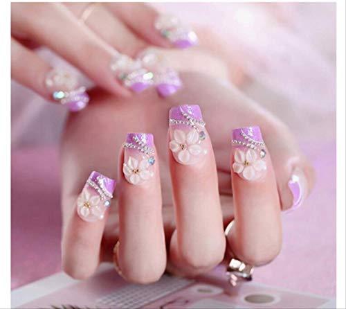 Purple Drill Nails Flower Falsche Nagelspitzen Full Cover Fake Nails 24St -