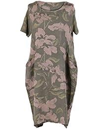 14ce3034360 LushStyleUK New Ladies Italian Floral Print Linen Dress Women Lagenlook  Dress Plus Sizes