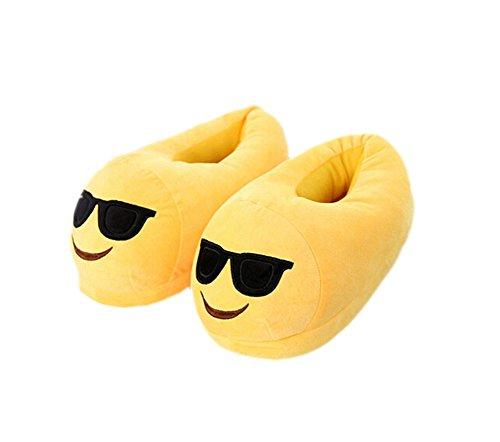 Magicmode Unisex Adult Cartoon Emoji Winter Warm Weichem Plüsch Home Hausschuhe Kostüm Schuhe Sonnenbrille