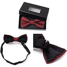 Refosian Hombres Poliéster pajarita Pre-empate de capas dobles Bow Tie Bowties ajustable con caja de regalo