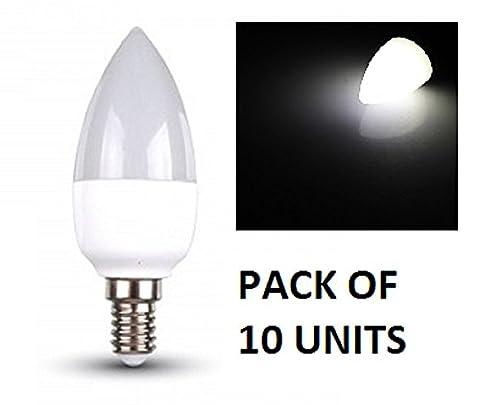 V-TAC LED Bougie Ampoules–Lot de 10unités–Blanc Froid 6000K–E14à petite vis type de base ses Fixations/470lumens de sortie–Puissance 6W/Faisceau 200°/vie 20000heures/non dimmable/SKU: 4241