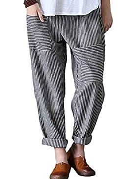 Vosujotis Mujeres Pantalones De Lino Cintura Elastico Rayas Pant