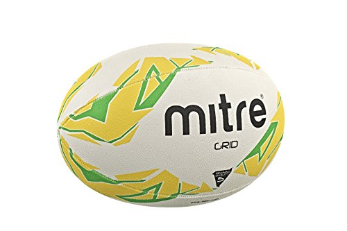 Mitre Men's Grid Training Rugby Ball - White/Yellow/Green