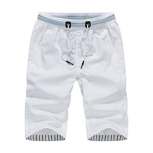 Vertvie Herren Kurze Hose Drawstring Shorts Sporthose Strandhose Sommer Badeshorts Jogginghose Freizeithose(Large, Weiß) (Shorts Drawstring Baumwolle)