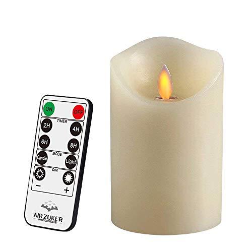 Air Zuker LED Kerzen mit beweglicher Flamme - Echt Flammen Effekt LED Echtwachskerzen 10 Key Fernbedienung und Timer[Klassische Stumpenkerze, Elfenbeinfarbe] - 8 cm * 12.5 cm (Die Batterie Der Fernbedienung Kerzen)