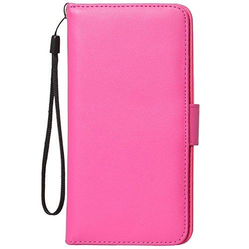 Phone case & Hülle Für IPhone 6 / 6S, Wallet Style Sechs Kartensteckplätze PU Ledertasche mit Lanyard ( Color : Magenta ) Magenta