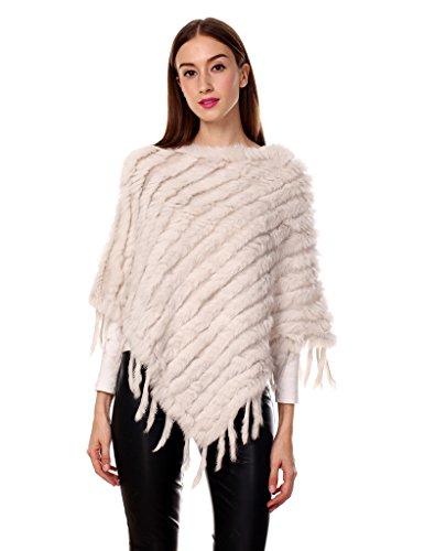 Ferand Kaninchenfell Gestrickter Poncho Damen mit Fransen, eleganter Echt Pelz Cape Warm für Winter Beige