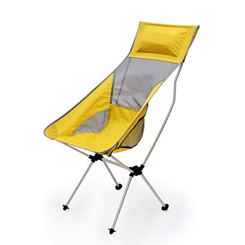 HIOD Strandliege Stuhl Recliner Draussen Leicht Faltbar Tragbar Gartenterrassenstuhl Angeln Sonnenliege Laden Sie 100 Kg,Yellow