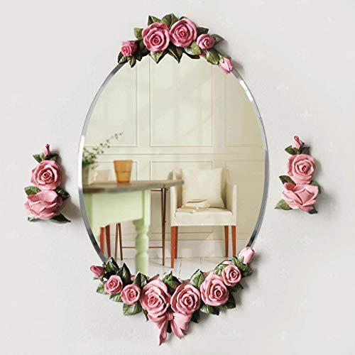 CJH Europäische Badezimmer Badezimmer Harz Blume Spiegel Wasserdichte Badezimmer Spiegel Wash Wall Mirror Dressing Spiegel Rosa