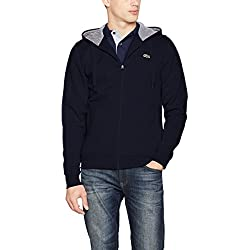 Lacoste Sport - Sweat-shirt àCapuche Homme - Multicolore (Marine/Argent Chine) - Large (Taille Fabricant : 5)