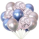 Juland 15 PCS Ballons De Fête Métalliques Perle métallique Brillante Ballons en Latex 12 '' avec Ballon de confettis Ballons à air gonflables pour Les Anniversaires, Douche Nuptiale - Bleu et Argent