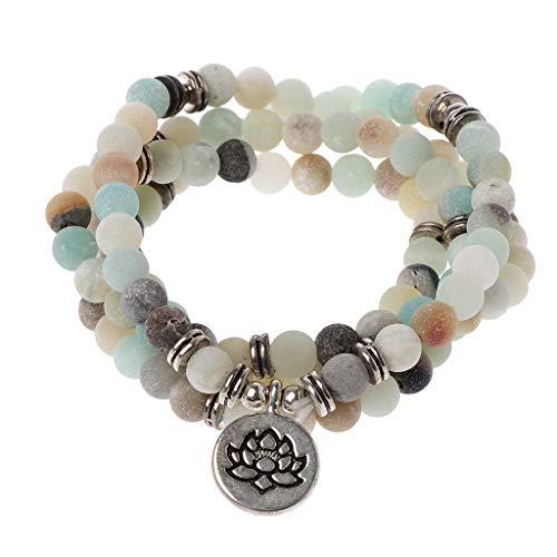 Mala Amazonite 108 Beads Necklace For Yoga Buddhist Rosary Prayer Charm Bracelet