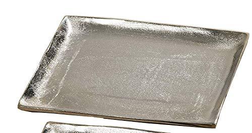 Dekoteller Silber Dekoschale Metall Teller Schale Alu Deko 20x20 o. 25x25 cm (25 x 25 cm)