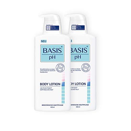 BASIS pH Body Lotion Set Unisex, pH-hautneutral, farbstofffrei, ohne Parabene und Mineralöle, spendet Feuchtigkeit für trockene Haut, 2er Pack Körper-Pflege Set (2 x 400ml)