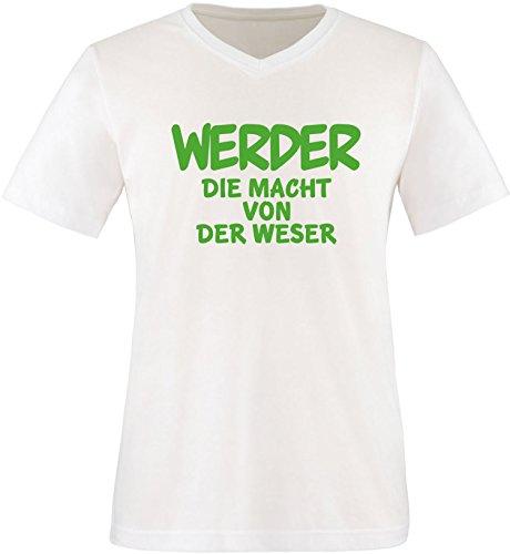 EZYshirt® Werder die Macht von der Weser Herren V-Neck T-Shirt Weiß/Grün