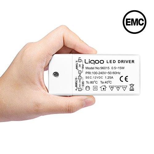 Liqoo® LED Trafo 12V DC 15W 1,25A EMC Netzteil Treiber 100V - 240V Transformator ohne Mindestlast für G4 MR16 Lampe Überlastungsschutz Überhitzungsschutz stört keine Radiosignale 0,5 - 15 Watt (A Netzteil 1,25)