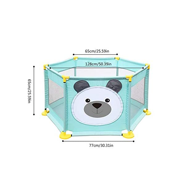 Baby Playpen Activity Centre Children Safety Fence Play Yard Game Playpen Fence for Home Indoor Outdoor Playing Per Material: ABS corner PVC connector Oxford cloth Mesh Size: height 65cm/25.59inch, length 142cm/55.9inch Age: 5 months to 3 years old 6