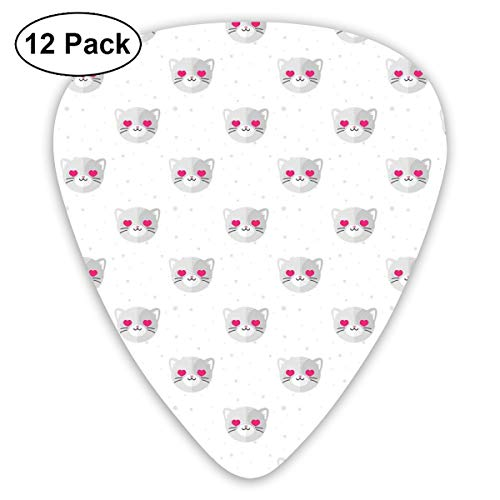 Celluloid Guitar Picks - 12 Pack,Abstract Art Colorful Designs,Cat Faces With Pink Heart Shaped Eyes Romantic Animal Kitty Mascot In Love,For Bass Electric & Acoustic Guitars. (Cat Halloween Für Design Face)