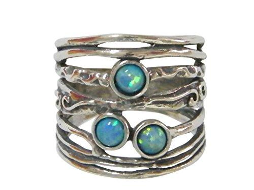 Vintage Shablool Didae-Ring Sterling-Silber 925 Opal Blau Damen