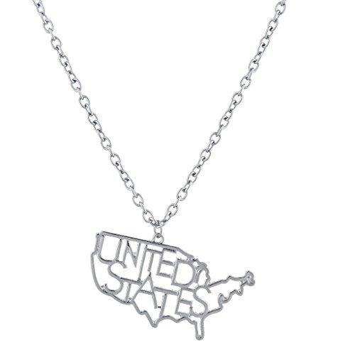 LUX Zubehör Silber Ton Vereinigten Staaten Form Verbiage Neuheit Charm Halskette