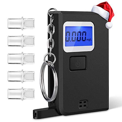 VicTsing Alkoholtester Mini Keychain Alkoholmessgerät mit Halbleiter Sensorik Alkohol Tester LCD-Display Alkohol Analyzer mit 5 Mundstücke