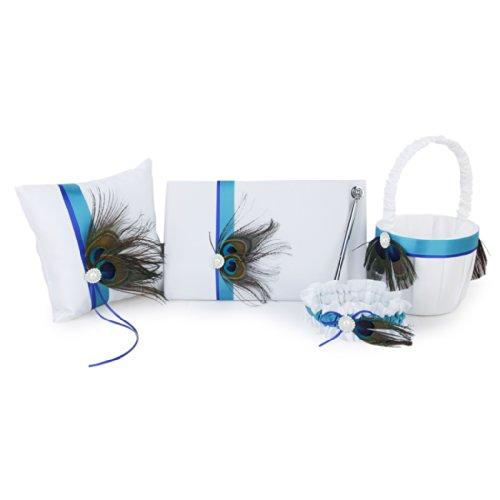 Peacock Feather Decor Wedding Guest Book+Pen+Ring Pillow+Flower Basket+Garter Set---White