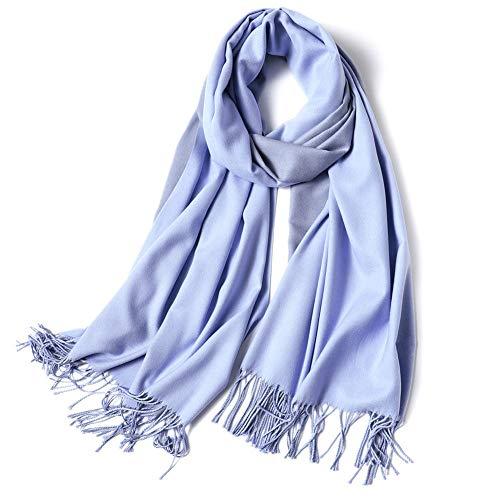 HLYANWEN Sciarpe,British Style Sciarpa Scialle in Autunno E in Inverno La Protezione A Freddo A Doppia Faccia per Donne Morbido E Caldo di Moda Colore Solido Wild Sciarpa,Luce Blu