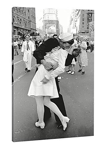ideastore Il Bacio A Time Square Stampa su Tela Il Bacio Fotografia Famosa del 900 stampa su Tela 40x30 telaio Incluso
