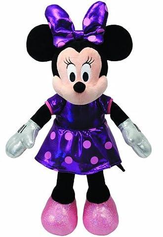 TY 41070 - Disney - Minnie Glitter mit Sound, violettes glitzerndes Kleid und Schleife, 20 cm