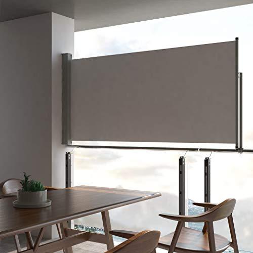 Festnight- Ausziehbare Seitenmarkise 120 x 300 cm Grau | Windschutz Sichtschutz Sonnenschutz | Seitenwandmarkise Seitenrollo für Balkon Terrasse Garten