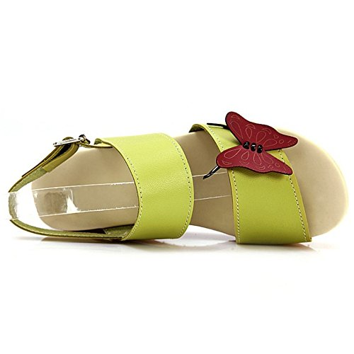 RizaBina Femmes Mode Bout Ouvert Sandales Compensees Plateforme Slingback Ete Chaussures 787 Vert