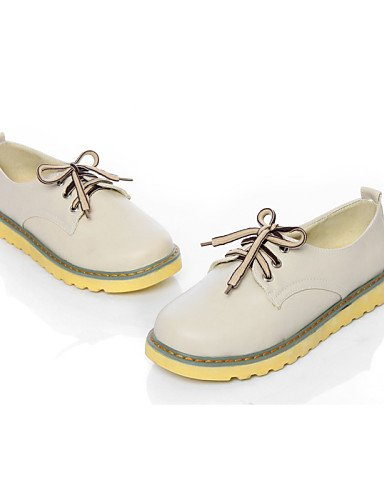 ZQ hug Scarpe Donna - Stringate - Casual - Punta arrotondata - Piatto - Finta pelle - Blu / Giallo / Rosa / Tessuto almond , almond-us6.5-7 / eu37 / uk4.5-5 / cn37 , almond-us6.5-7 / eu37 / uk4.5-5 /  yellow-us5 / eu35 / uk3 / cn34