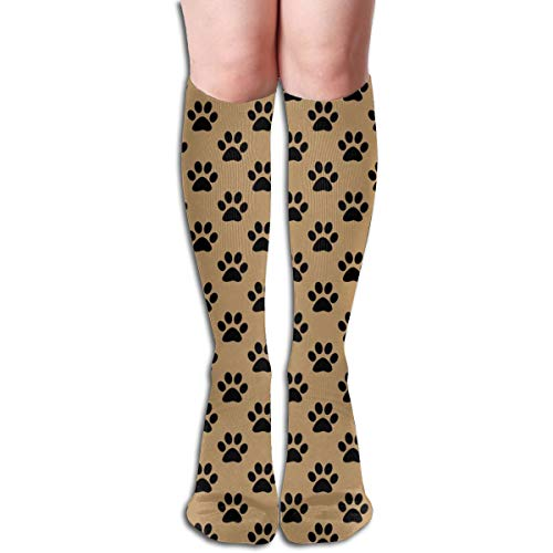 Pillowcase shop Half Inch Black Paw Prints On Camel Brown Women Tube Knee Thigh High Stockings Cosplay Socks 50cm (19.6 inch) 1/2-zoll-womens High Heels
