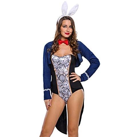 Bling-Bling 4pcs Bunny Bodysuit Party Costume Set(Size,S)