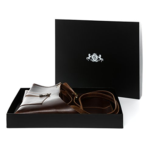 41dxcpcuIML - SID & VAIN® Lederschürze HEATHROW - Unisex Kochschürze groß - Grillschürze im Vintage-Look Damen Herren echt Leder braun-cognac
