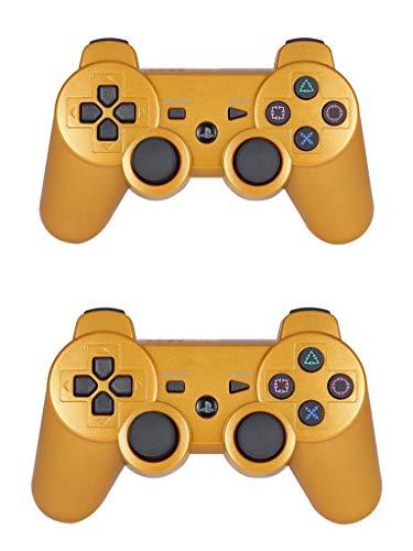 TAOHOU Gamepad kabellos Bluetooth mit Fernbedienung für PS3 Controller Doppel-Gold.