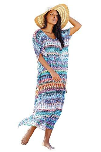 Esenfa da donna lungo Chiffon Caftano Spiaggia Cover Up spiaggia vestito costumi da bagno Blue B Taglia unica