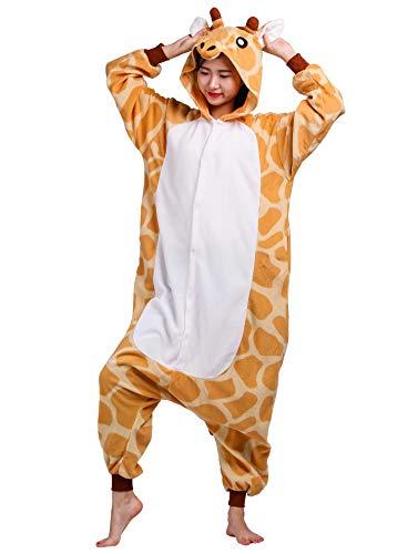 Unisex Kigurumi Jumpsuit Tier Pyjamas Kostüm Fasching Onesie Damen Herren Karneval Cosplay Nachtwäsche, Giraffe