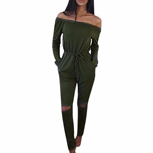 QIYUN.Z Femmes Manches Longues Trous Bustier Combinaison De Genou Longue Tunique Pantalon Barboteuses Occasionnels Vert