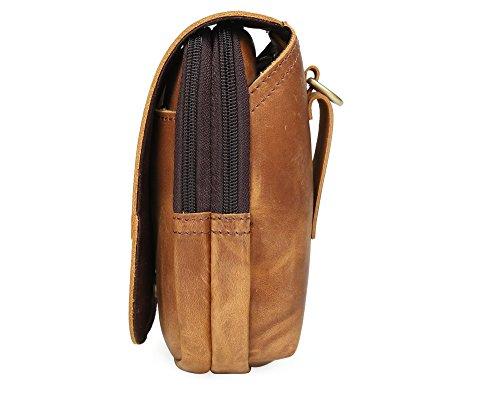 Genda 2Archer Flapover doppio sacchetto della chiusura lampo sacchetto della cinghia di cuoio del telefono (marrone chiaro) 3129QBR